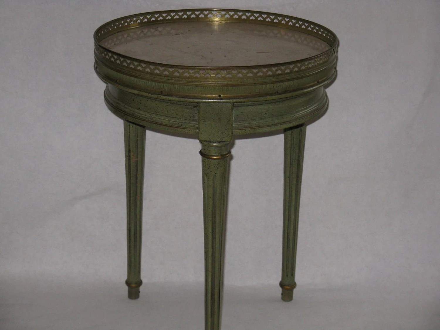 Vintage Brandt Accent Table Green Wood Marble Top Brass