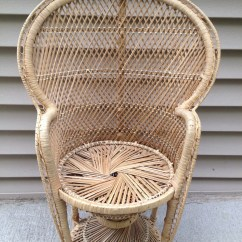 Childs Rattan Chair For Toddler Girl Vintage Wicker Peacock Hollywood Glam