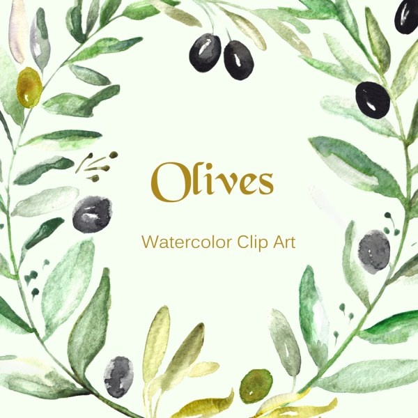 olives watercolor clip art hand
