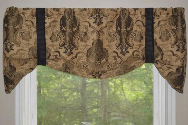Window Treatment Tie Valance Black Brown And Tan