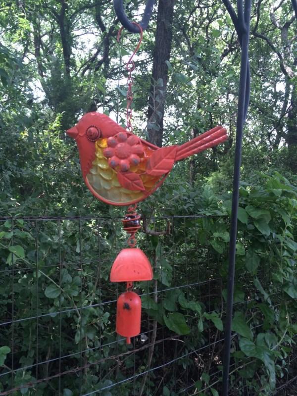 Burnt Orange Bird Wind Chime Metal Yard Bluecottagecreation