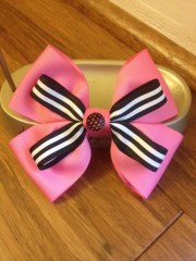 fancy pink and black hair bow