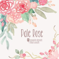 watercolor clip flowers pink rose wreath flower clipart roses pale invitation wedding