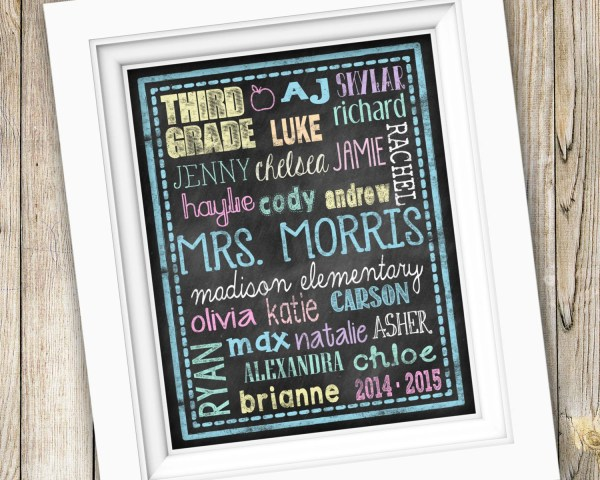 Teacher Subway Art Personalized Custom Printable