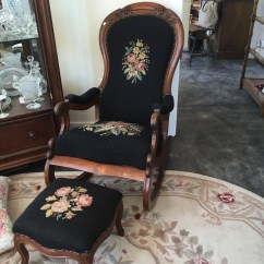 Rocking Chair With Footstool India Double Papasan Cushion Victorian Mahogany Antique