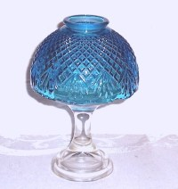 WESTMORELAND Diamond Points & Fans Glass Blue FAIRY LIGHT Lamp