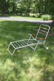 Vintage Chaise Lounge Chair Aluminum Folding Rolling Wheels