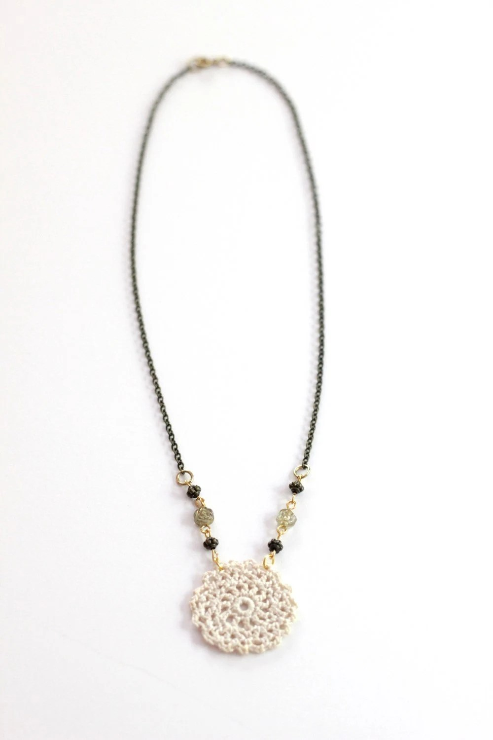 Lace Pendant Necklace Hand Crocheted Jewelry by