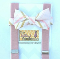 Blush and gold Bow Tie and tan Suspenders by ...
