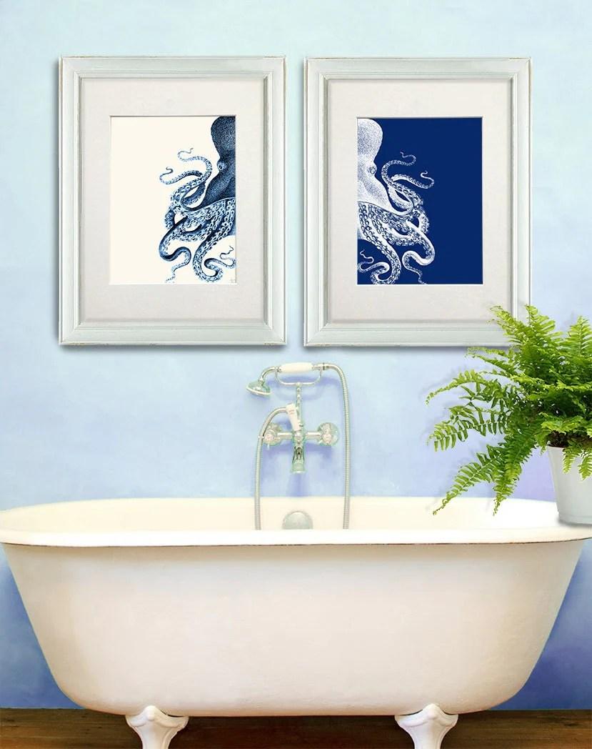 Bathroom Decor 2 Octopus Prints NAVY Blue Cream by