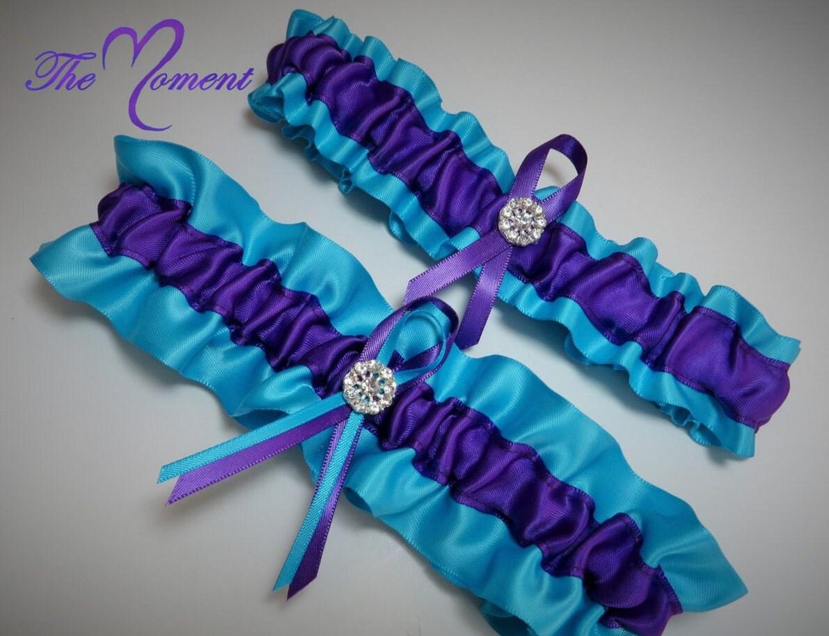 Turquoise and Purple Garter Set Purple and Turquoise Garter