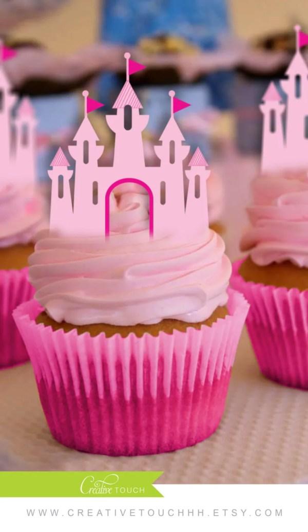Princess Cupcake Toppers Castle Disney