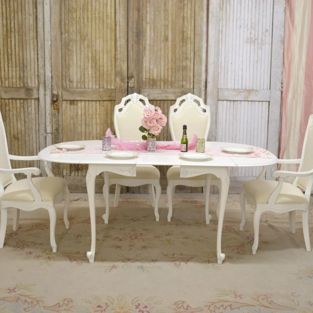 Shabby Cottage Chic French Style Oval Dining Table Roses 1 Leaf White Drop Le