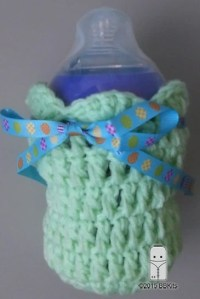 Crocheted Baby Bottle Cover with a Shell Pattern finish by ...
