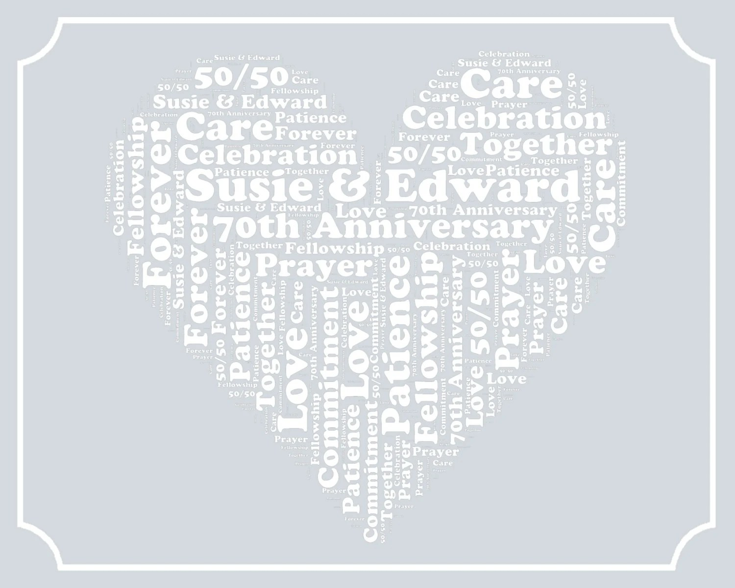Personalized 70th Anniversary Gift Word Art Print By