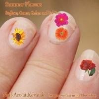Summer Flower Nail Art, Cosmos, Rose, Gerber, Sunflower