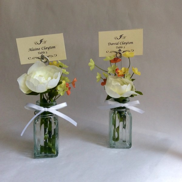 Place card holders bud vase and wire place card by Lenoreloves