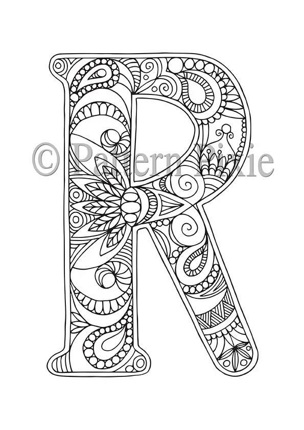 Adult Colouring Page Alphabet Letter R by PatternPixie on Etsy