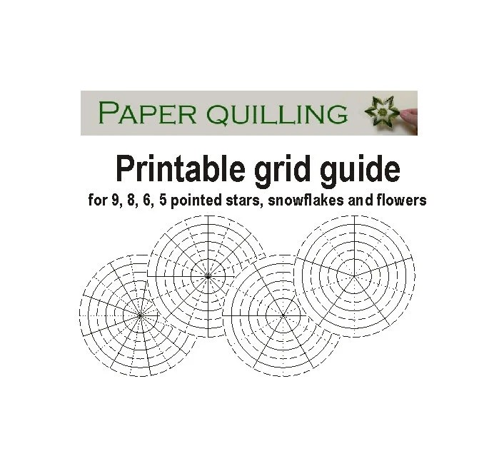 Printable quilling grid guide, template for 5, 6, 8, 9