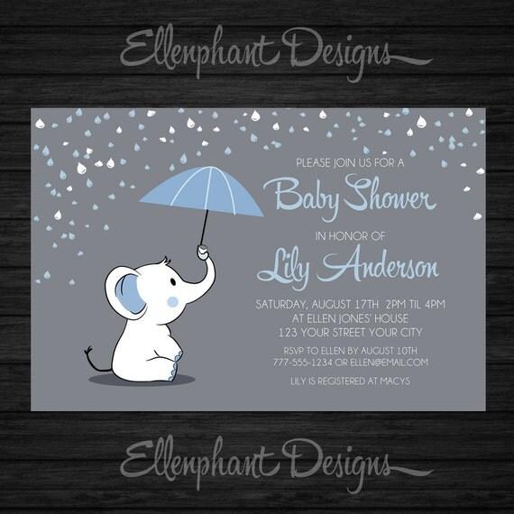 Cute Baby Shoes Wallpaper Elephant Baby Shower Invitation Blue Umbrella Rain Baby