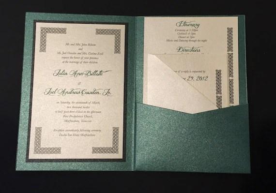 Irish Green Celtic Wedding Invitation A7 Pocket Folded
