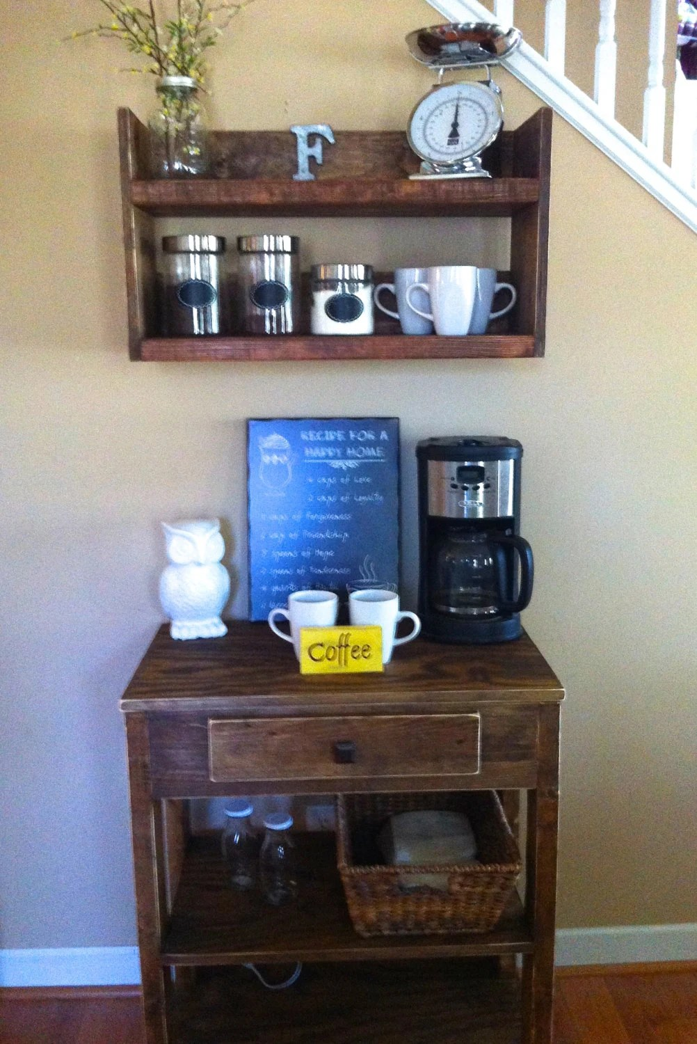 Rustic kitchen shelf coffee shelf coffee bar shelf by