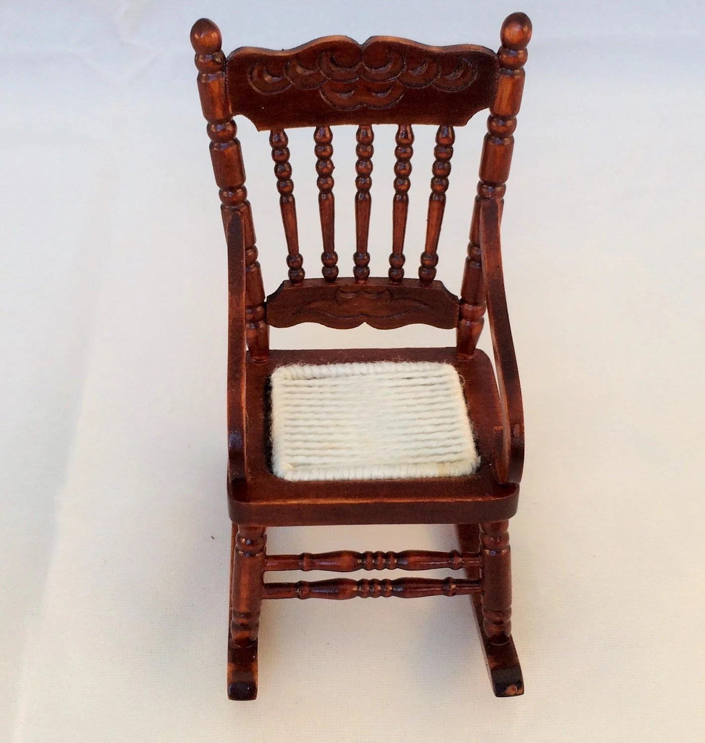 Miniature Chairs Vintage Miniature Wooden Rocking Chair 1 12 Scale Hand