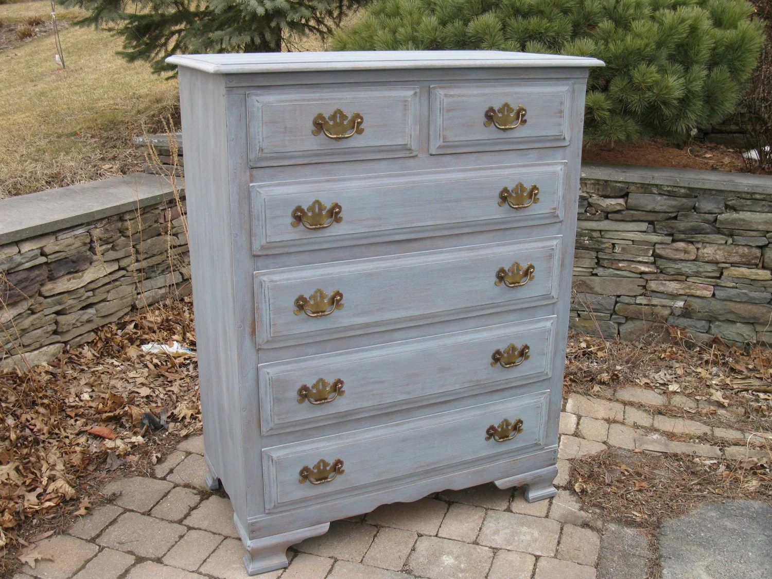 Chic And Shabby Blue Grey Chest Of Drawers Dresser Or Bedroom Set Haute Juice