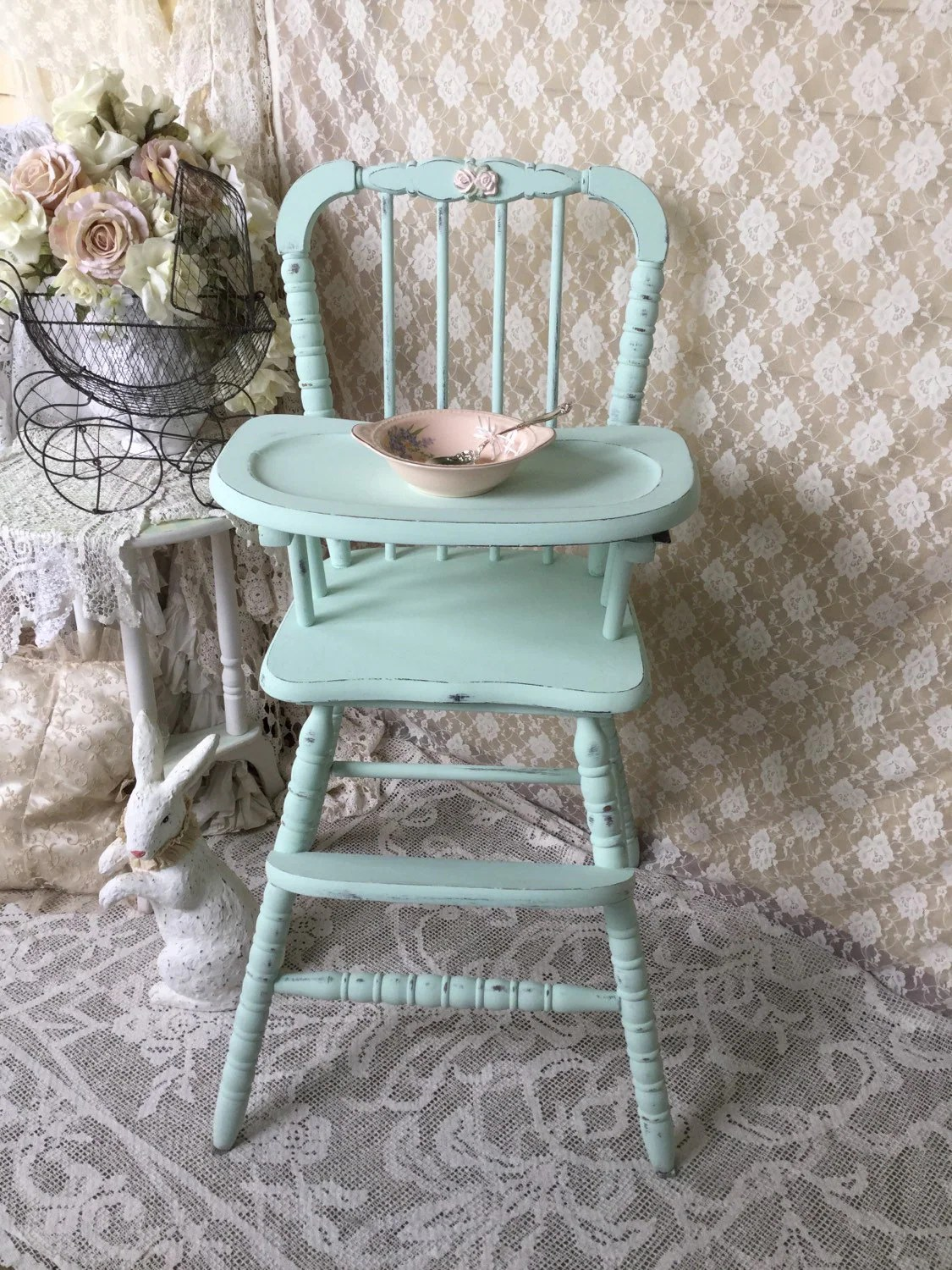 retro high chairs babies half sphere chair shabby mint green vintage jenny lind baby