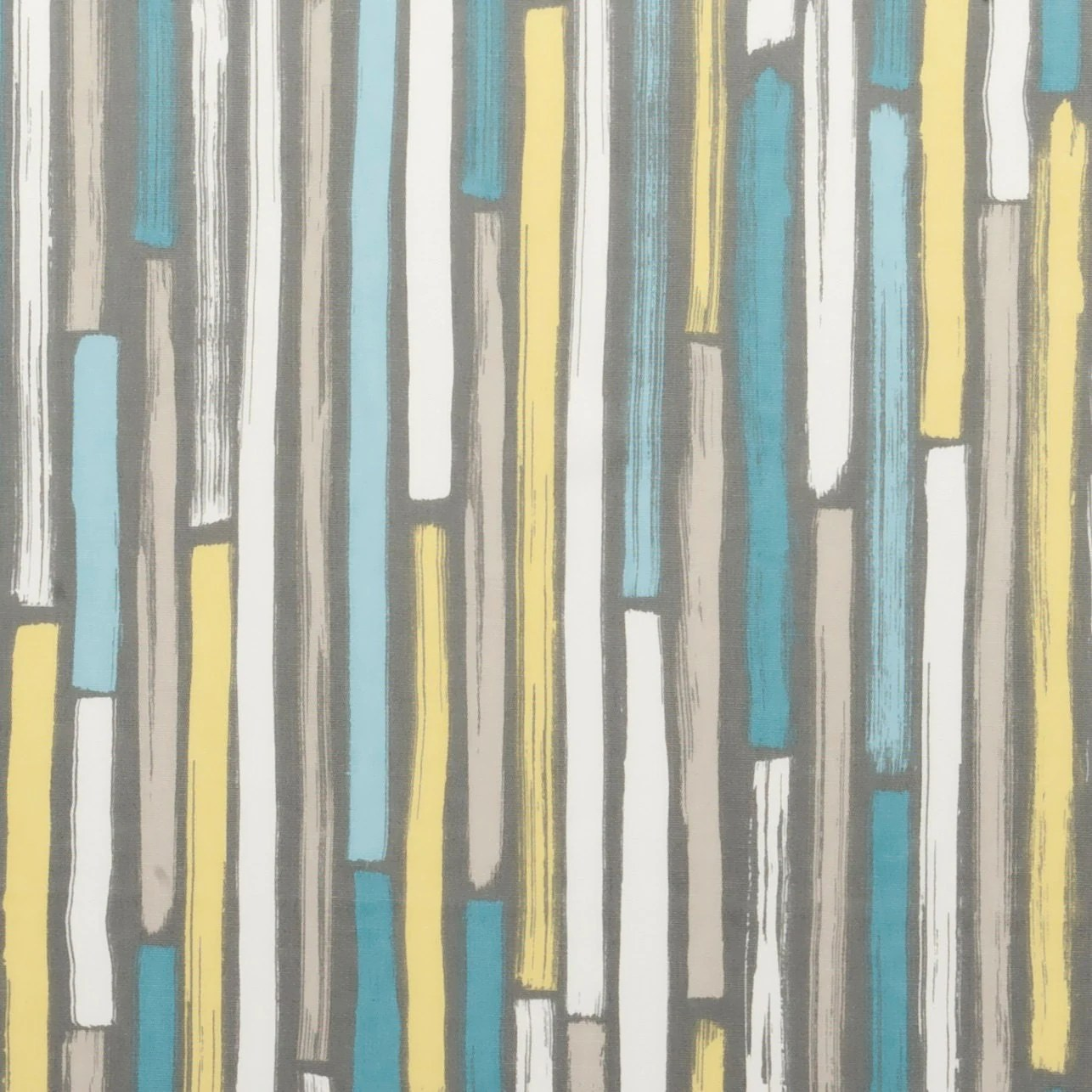 Modern Turquoise and Grey Upholstery Fabric Aqua Yellow