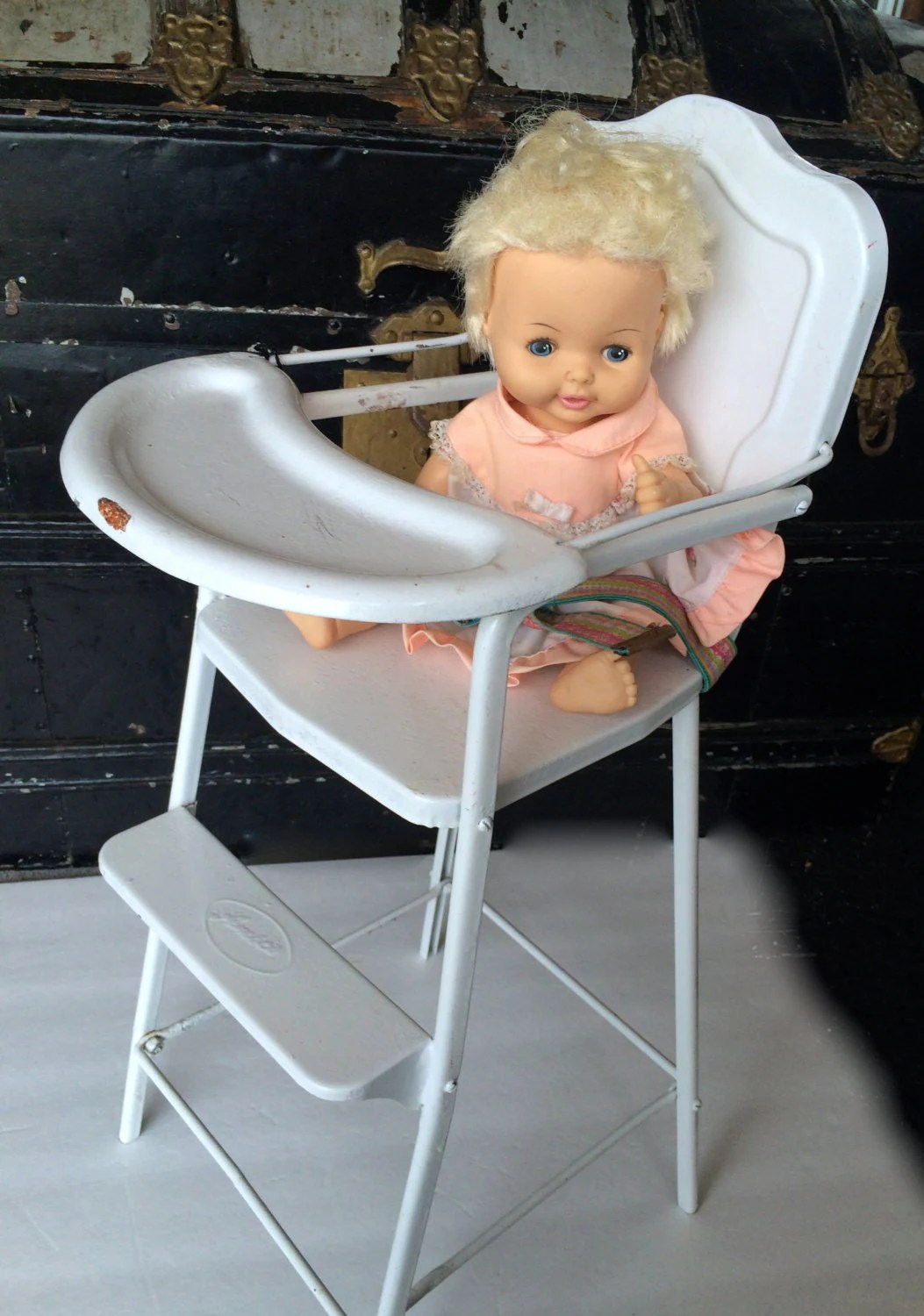 high chair for dolls toddler desk baby doll vintage toy furniture highchair