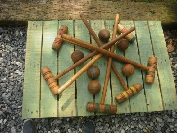 Vintage Wood Croquet Set Mallats Balls By AmazingCollections