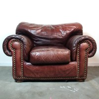 RESERVED Leather Club Chair & Ottoman / Vintage Distressed