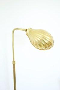 Pharmacy Floor Lamp Mid Century Modern Brass Clam Shell Shaped
