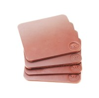 Leather Drink Coasters Set of 4 Full Grain Coffee Bridle