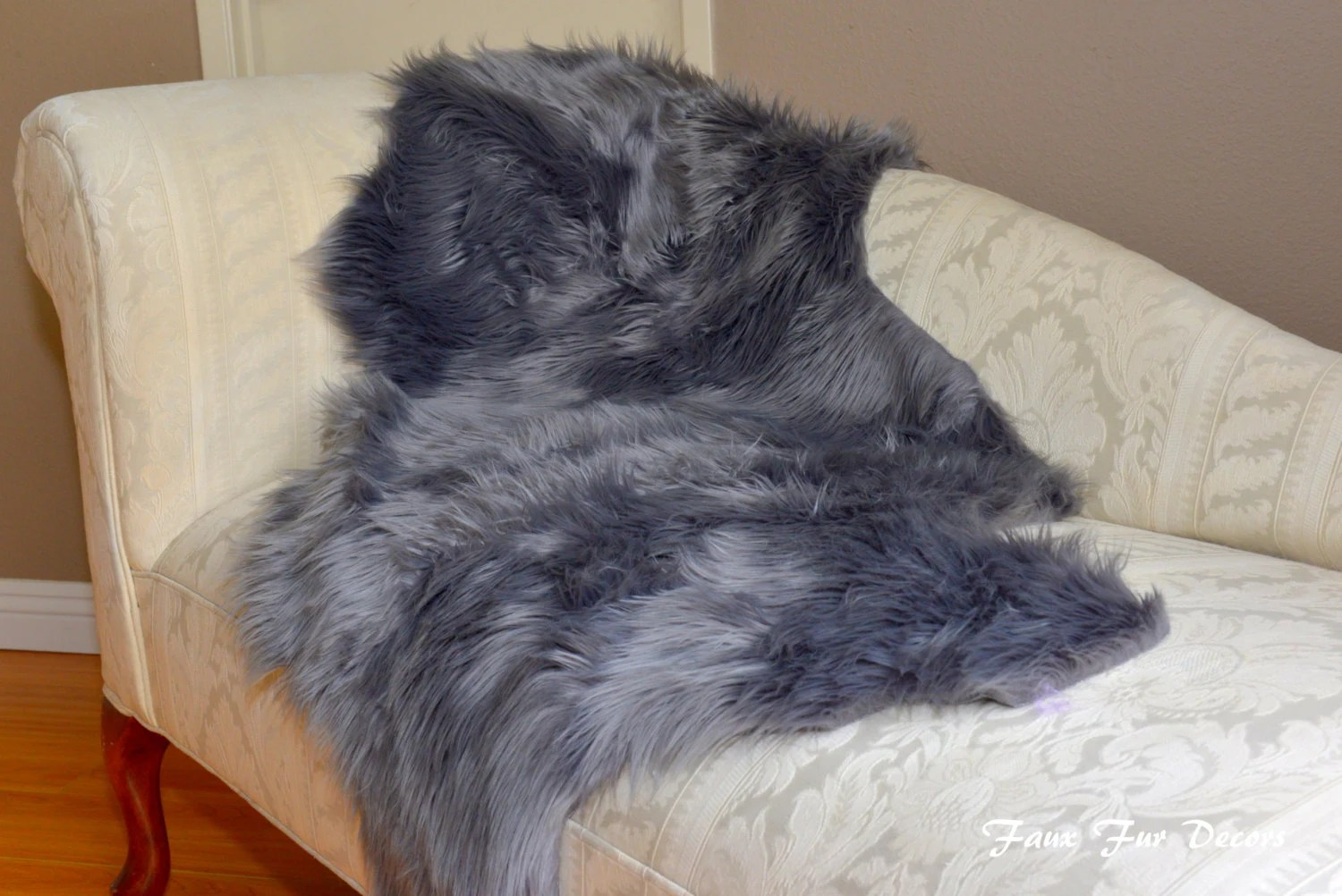 faux fur chair cover fruitwood folding chairs home living decor gray sheepskin couch throw cushions