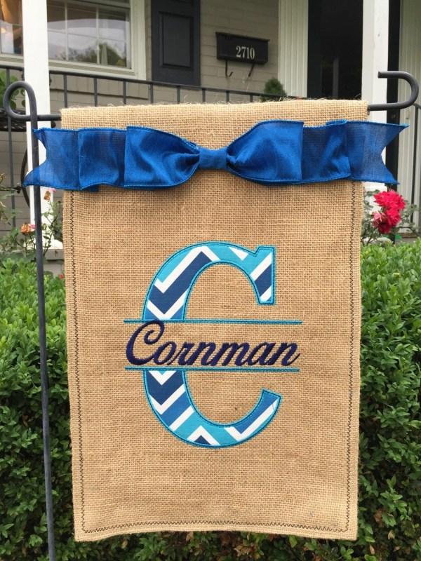 Custom Monogrammed Split Initial Burlap Garden Flag