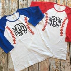 Baseball Monogram Raglan Shirt ~ 3/4 sleeve ~ Custom Baseball Shirt ~ Baseball Mom Shirt ~ Softball Mom ~ Custom Softball Shirt