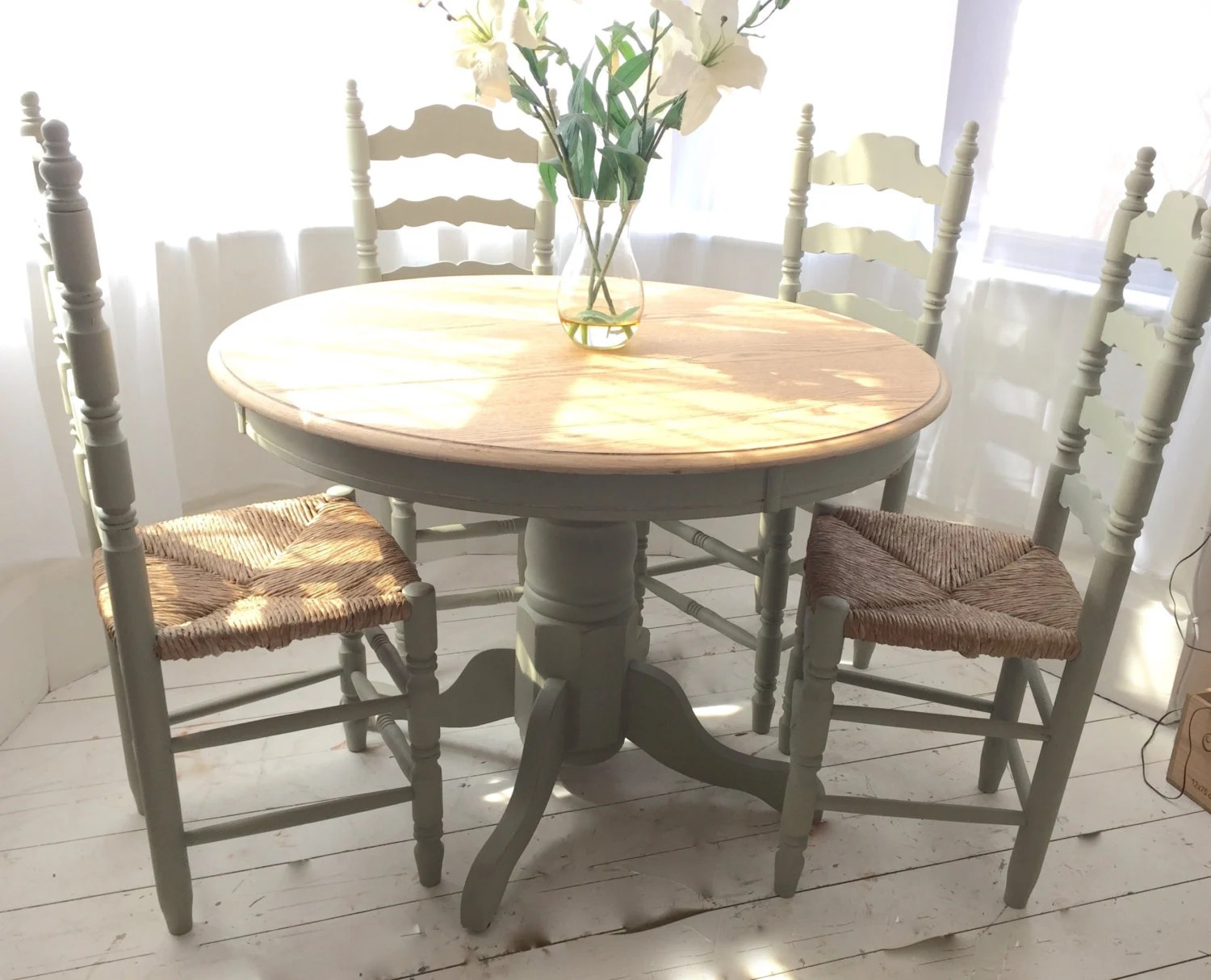 Sage Green French Country Oak Dining Set With Vintage Rush Seat Chairs Haut