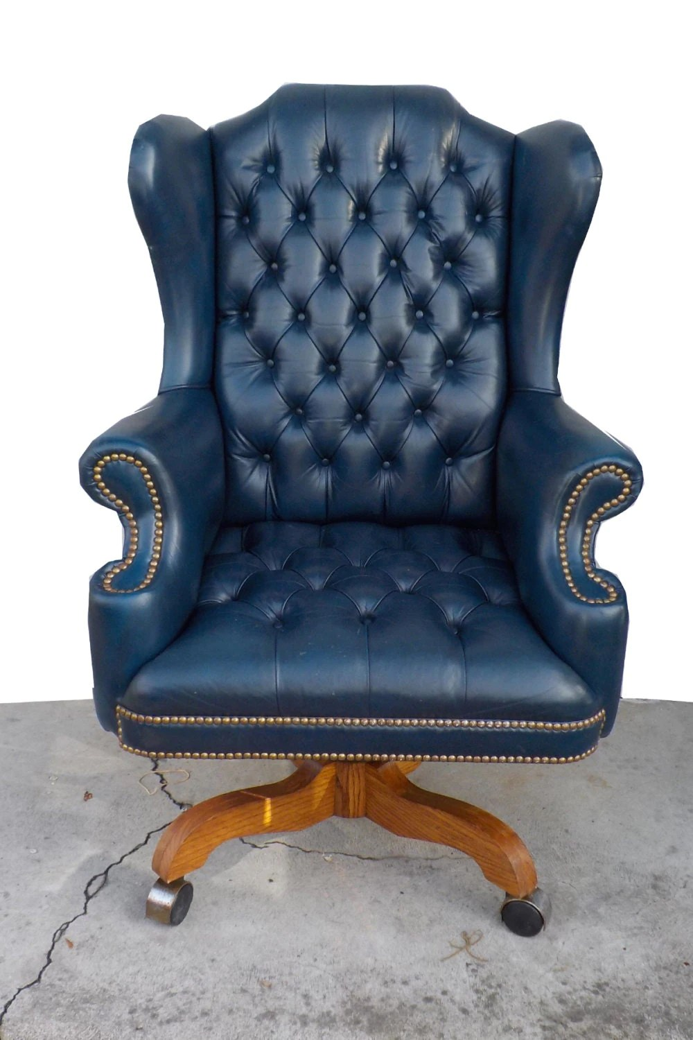 Hollywood Regency Vintage Tufted Blue Leather Chesterfield