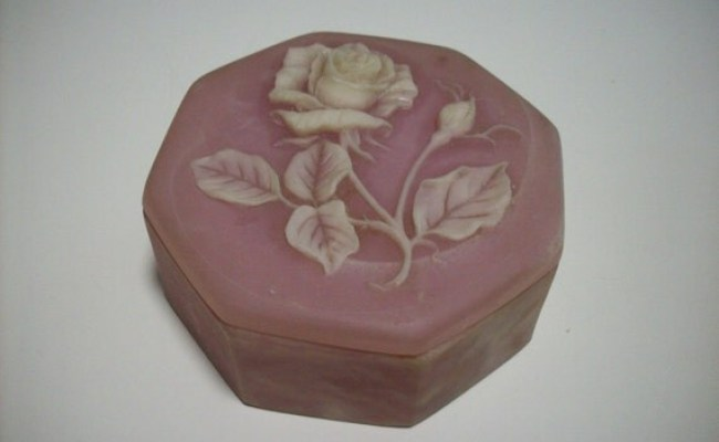 Pink Stone Trinket Box Rose Design Gifts International