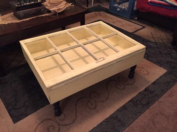 Distressed Shadow Box Coffee Table Window