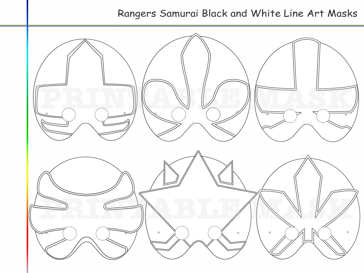Samurai Mask Coloring Pages