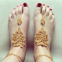 Elegant Gold Barefoot Sandals Anklets Foot