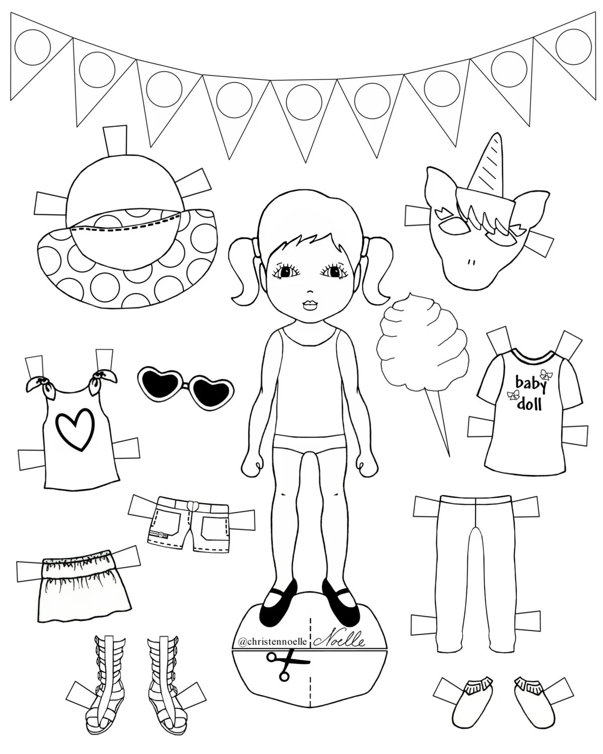 Color Me printable black and white paper dolls by