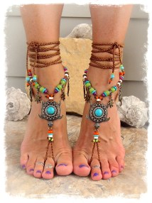 Turquoise Sea Turtle Barefoot Sandals Beach Sandal Luxurious