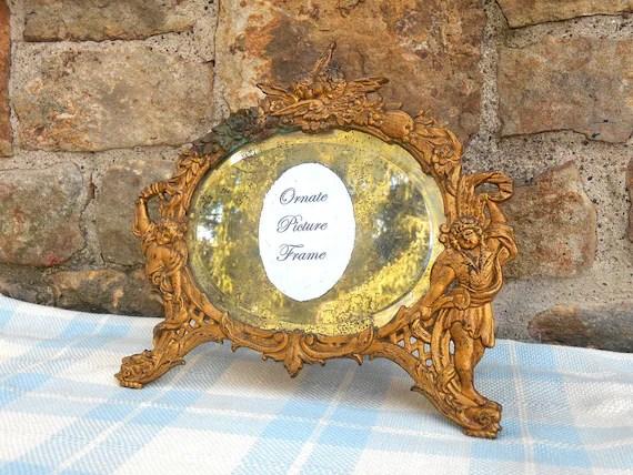 Antique Beveled Vanity Mirror Frame Cast Metal Frame By