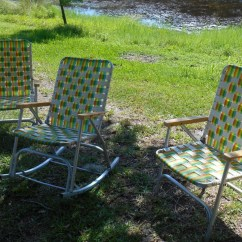 Webbed Folding Lawn Chairs Black Camping Set Of 3 Matching Mid Century Aluminum