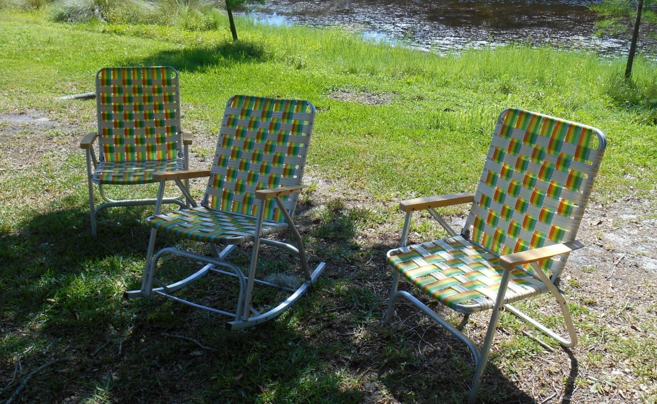 Aluminum Lawn Chairs Set Of 3 Matching Mid Century Aluminum Folding Lawn Chairs