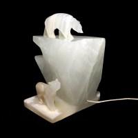 Vintage Carved Stone Polar Bear Sculptural Lamp White Figural